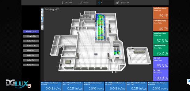 A DGLogik visualization featuring an embedded-floor radiant cooling system in a data center. Radiant systems can save a lot of energy compared to forced air. However, operators need to continuously monitor floor temperature and humidity to ensure against condensation. This IoT application allows the user to oversee the data center from any location on any device at any time. It gives a geographic and physical representation of the equipment itself along with its most relevant set of realtime information, historic trends and alarms - if they exist. Rendered in HTML5, the dashboard visualization will upload quickly and respond on desktop, tablet or phone. More informative than line graphs and pie charts, such visualizations facilitate better, faster decision making.